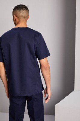 Male Scrub Top, Navy with Teal Trim