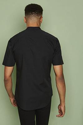 Short Sleeve Banded Collar Shirt, Black