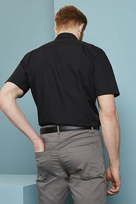 Short Sleeve Button Collar Shirt, Black