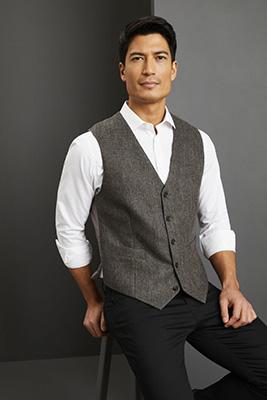 Men's Washable Tweed Vest, Grey