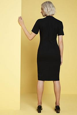 Notched Neckline Dress, Black