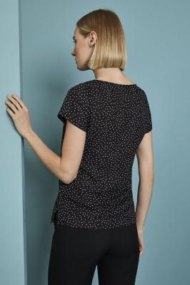 Pleat Neck Dot Pattern Blouse