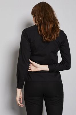 Long Sleeve Open Collar Blouse, Black