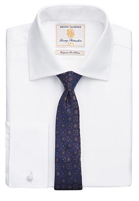 Prato Slim Fit Shirt Cotton Herringbone White H/B