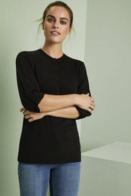 Premier Female Long John Roll-Sleeve T-shirt, Black