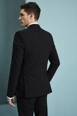 Qualitas Men's Modern Fit Two Button Blazer (Long), Black