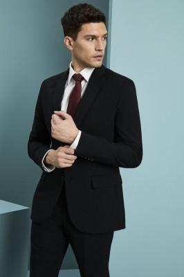 Qualitas Men's Modern Fit Two Button Blazer (Regular), Black