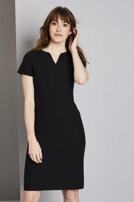 Qualitas Notch Neckline Dress, Black