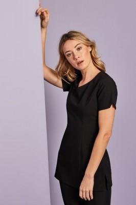 Select Scooped Angle Neckline Tunic, Black