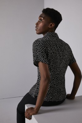Semi Fitted Open Collar Blouse, Black/White Squares