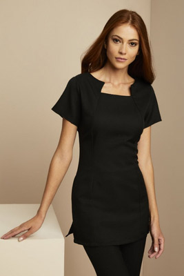 Shaped Neck Tunic, Black