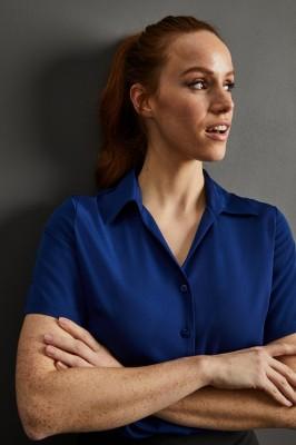 Short Sleeve Open Collar Blouse