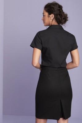 Short Sleeve Open Collar Blouse, Black
