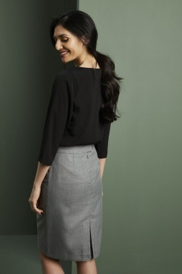 Tuck Front 3/4 Sleeve Blouse, Black
