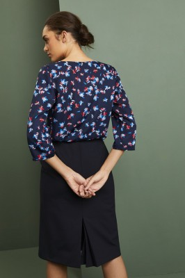 Tuck Front 3/4 Sleeve blouse, Blue Floral