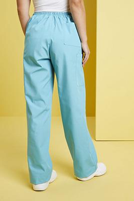 Unisex Fitted Scrub Pants, Aqua/Navy