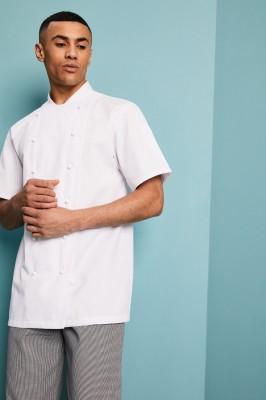 Veste de cuisinier avant réversible à manches courtes unisexe, blanc