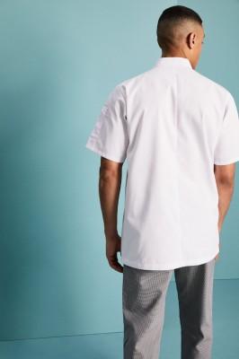 Veste de cuisinier avant réversible à manches courtes unisexe, blanc2