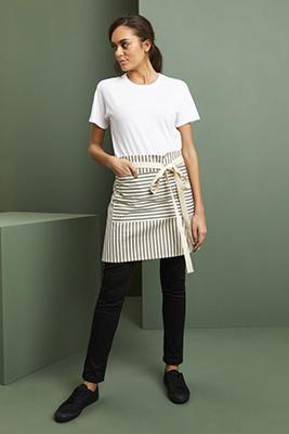 Wide Stripe Short Apron, Black Stripe