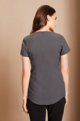 Curved Hem Contrast Tunic, Graphite/Black