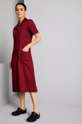 Classic Collar Healthcare Dress, Burgundy with Burgundy Trim