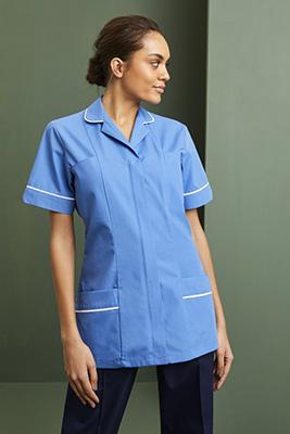Ladies Classic Collar Healthcare Tunic, Hospital Blue