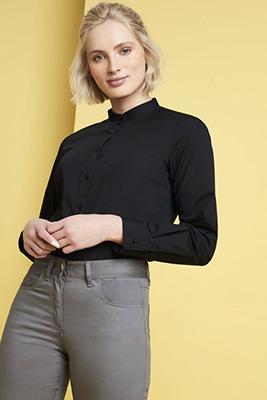 Long Sleeve Banded Collar Blouse, Black