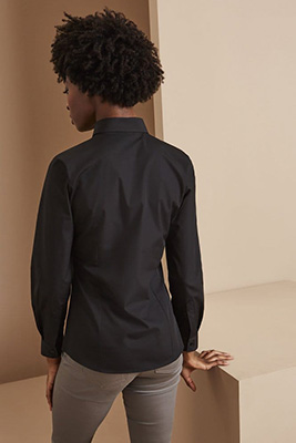 Long Sleeve Button Collar Blouse, Black