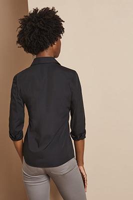 Long Sleeve Regular Fit Blouse, Black