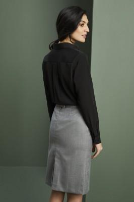 Long Sleeve Utility Pocket Shirt Blouse, Black