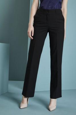 Qualitas Ladies Straight Leg Pants Unhemmed, Black