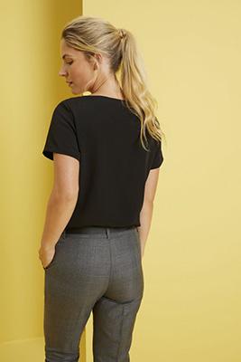 Short Sleeve Pleat Neck Blouse, Black