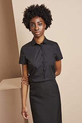 Short Sleeve Regular Fit Blouse, Black