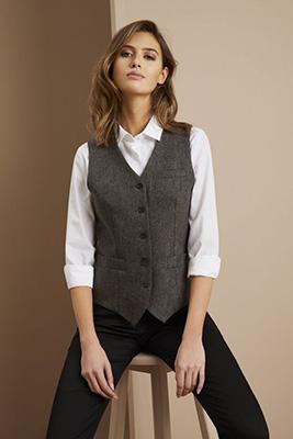 Women's Washable Tweed Vest, Grey