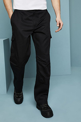Pantalon de travail avec poches latérales et genouillères, Regular, Noir2