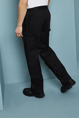 Pantalon de travail avec poches latérales et genouillères, Long, Noir2