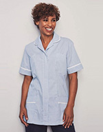 Classic Collar Healthcare Tunic - Hospital grey with white trim