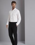 Pantalon homme coupe moderne sans pli devant, Qualitas, Noir, Standard