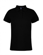 Asquith & Fox Women's Cotton Polo Shirt, Black