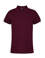 Asquith & Fox Women's Cotton Polo Shirt, Burgundy