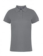 Asquith & Fox Women's Cotton Polo Shirt, Heather Grey