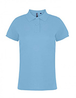 Asquith & Fox Women's Cotton Polo Shirt, Pale Blue