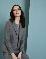 Ladies Contemporary Two Button Blazer, Pale Grey
