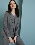 Ladies Contemporary Two Button Blazer (Long), Pale Grey