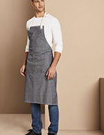 Denim Stripe Bib Apron, Blue Denim