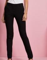 Qualitas pantalon style Slim jambe, femme, Noir, Non ourlés