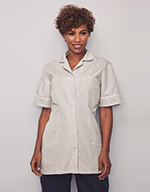 Ladies Classic Collar Healthcare Tunic, Pale Grey Stripe with Red Trim