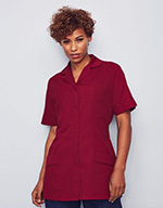 Classic Collar Healthcare Tunic - Burgundy with burgundy trim