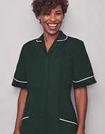 Classic Collar Healthcare Tunic - Bottle green with white trim