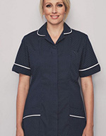 Classic Collar Healthcare Tunic - Navy spot with white trim